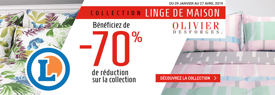 E.LECLERC : Collection Linge de Maison Olivier Desforges