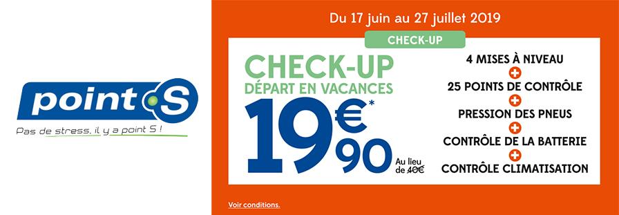 POINT S : Check-up départ en vacances à 19,90€ au lieu de 40€
