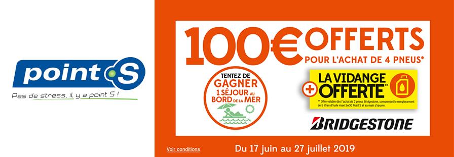 POINT S : 100€ offerts pour l'achat de 4 pneus