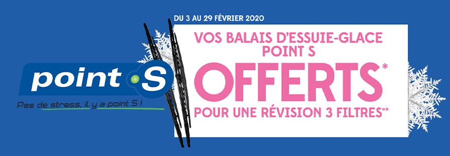 POINT S : VOS BALAIS D'ESSUIE-GLACE OFFERTS