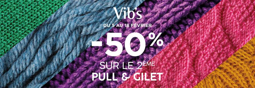 VIB'S : -50% sur le deuxième pull & gilet
